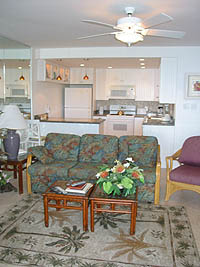 Living room in 1-bedroom Unit A-15 at Napili Point Resort, Maui, Hawaii